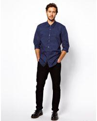 DIESEL Blue Shirt Salapa Pleat Bib Front for men