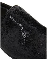 Dune Black Glitter Dress Slippers for men