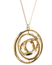 French Connection - Metallic Spinning Ring Necklace - Lyst