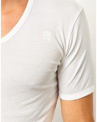 G-Star RAW White G Star Two Pack V-neck T-shirt for men