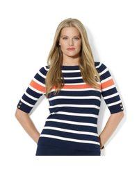 Lauren by Ralph Lauren | Blue Striped Boatneck Sweater | Lyst