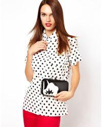 Lulu Guinness Metallic Fifi Doll Face Clutch Bag