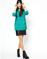 MINKPINK Green Spot Me Pom Pom Sweater