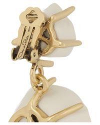 Oscar de la Renta - White Goldplated Resin Flower Clip Earrings - Lyst