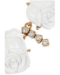 Oscar de la Renta White Goldplated Crystal and Resin Rose Necklace