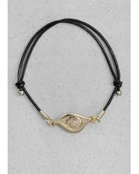 & Other Stories - Black Leather Cord Bracelet - Lyst