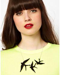 Tatty Devine Black Swallow Triple Necklace