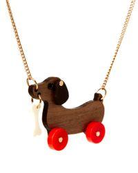 Tatty Devine | Metallic Dog On Wheels Necklace | Lyst
