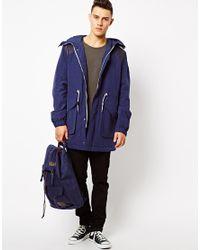 Wesc Blue Parker Coat Elder With Hood for men