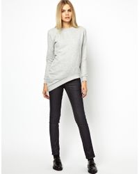 Won Hundred Gray Jazz Sweatshirt with Assymetric Hem in Burnt Out