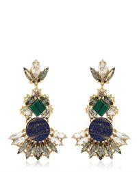 Anton Heunis Blue Geometric Crystal Cluster Earrings