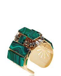 Anton Heunis Green Rectangles Crystal Cluster Cuff Bracelet