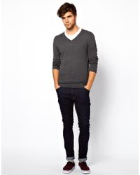 ASOS Gray V Neck Jumper with Elbow Patches for men