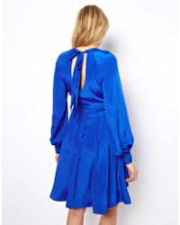 ASOS Blue Dress With Bell Sleeve