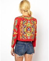 ASOS Red Jacket with Floral Embroidery