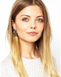 ASOS - Metallic Hex Chain Stud Earrings - Lyst