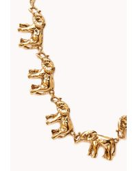 Forever 21 - Metallic Elephant Frenzy Charm Necklace - Lyst