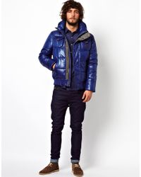 G-Star RAW Blue Quilted Bomber Jacket Whistler Hooded Chintz for men