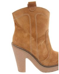 Ganni Brown Heeled Leather Ankle Boot with Razer Edge Sole