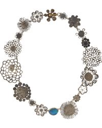 Judy Geib Metallic Opal Silver Gold Floral Necklace