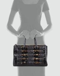 Nancy Gonzalez Crocodile Python Calf Hair Tote Bag Black