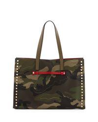 Valentino Multicolor Camouflage Medium Soft Square Tote Bag