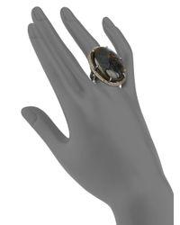 Bavna | Blue Labradorite Cabochon Pave Diamond Sterling Silver Ring | Lyst
