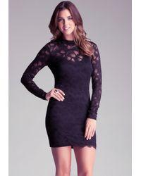 Bebe Black Open Back Lace Dress