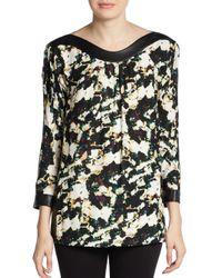 Catherine Malandrino | Black Amina Abstract Floral-Print Silk/Wool Blouse | Lyst