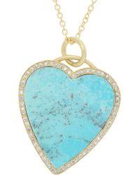 Jennifer Meyer - Blue 18karat Gold Turquoise and Diamond Heart Necklace - Lyst