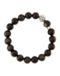 Lagos - Metallic 10mm Caviarball Obsidian Beaded Stretch Bracelet - Lyst