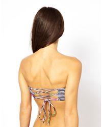 Motel Blue Sandrift Strappy Bandeau Bikini Top - Multi