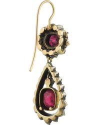 Olivia Collings - Red 18karat Gold Ruby and Diamond Earrings - Lyst