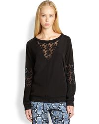 Pjk Patterson J. Kincaid - Black Spectra Floralembroidered Sheerpaneled Sweatshirt - Lyst