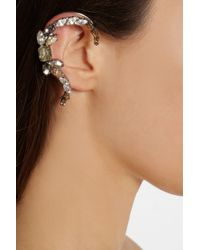 Vickisarge   Metallic Speakeasy Palladiumplated Swarovski Crystal Ear Cuff   Lyst