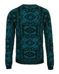 TOPMAN - Green Blue Tapestry Jumper for Men - Lyst