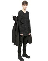 Julius Black Nylon Cotton Blend Taffeta Puffer Jacket for men