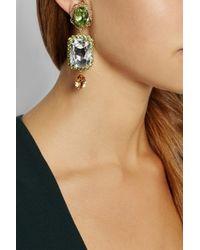 Dolce & Gabbana - Green Gold-Plated Swarovski Crystal Clip Earrings - Lyst