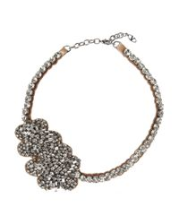 Valentino | Metallic Roses Silver-Plated Swarovski Crystal Necklace | Lyst