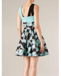 Fausto Puglisi Blue Geometric Print Dress
