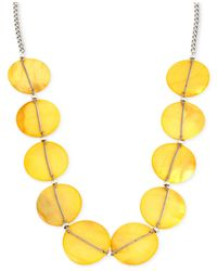 Kenneth Cole | Yellow Silver-tone Chain-wrapped Circle Frontal Necklace | Lyst
