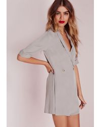 Missguided - Gray Blazer Style Romper Grey - Lyst