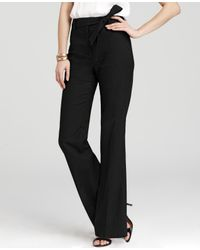 Ann Taylor - Black Tall Stretch Linen Twill Wide Leg Pants With Sash - Lyst