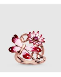 Gucci Pink Flora Ring In Rose Gold, Enamel And Rubies