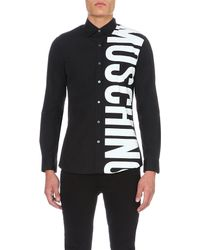 Moschino | Black Logo-print Cotton Shirt for Men | Lyst