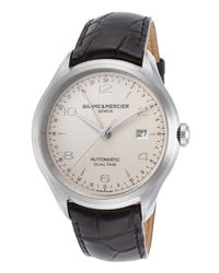 Baume & Mercier - Men's Clifton Auto Dual Time Black Genuine Alligator Silver-tone Dial for Men - Lyst