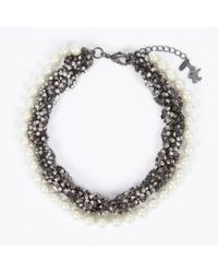 Paul Smith | Metallic Plaited Diamante And Pearl Necklace | Lyst