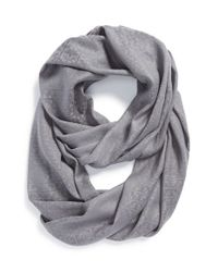 Tory Burch - Gray 'stacked T' Jacquard Infinity Scarf - Lyst