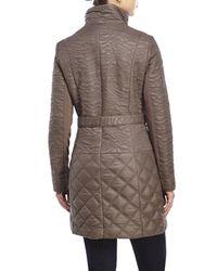 T Tahari - Gray Belted Asymmetrical Zip Puffer Coat - Lyst