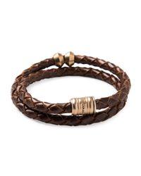 Miansai - Brown Brass Leather Casing Bracelet for Men - Lyst